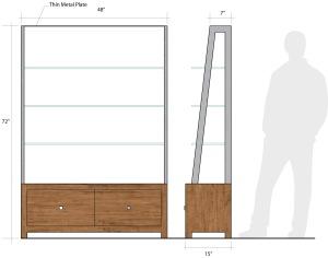 Display w glass shelfs